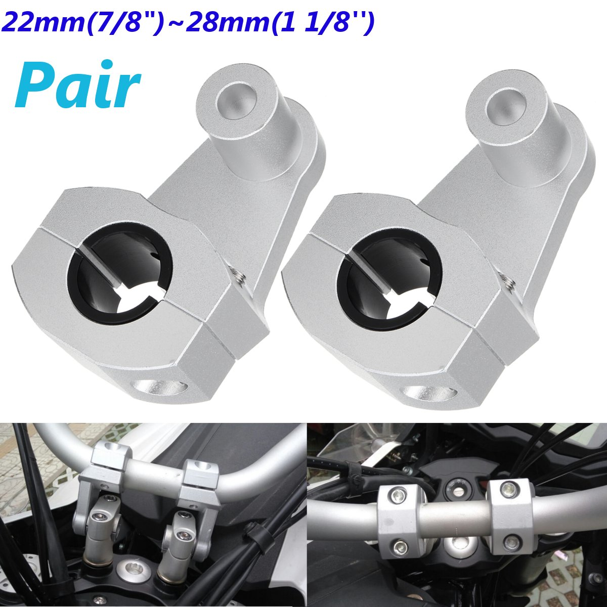 2 Pcs Motorcycle Motor <font><b>Handlebar</b></font> Clamps Sliver <font><b>Riser</b></font> 22mm <font><b>28mm</b></font> for Suzuki for Yamaha for BMW for Honda Aluminum Alloy bar image