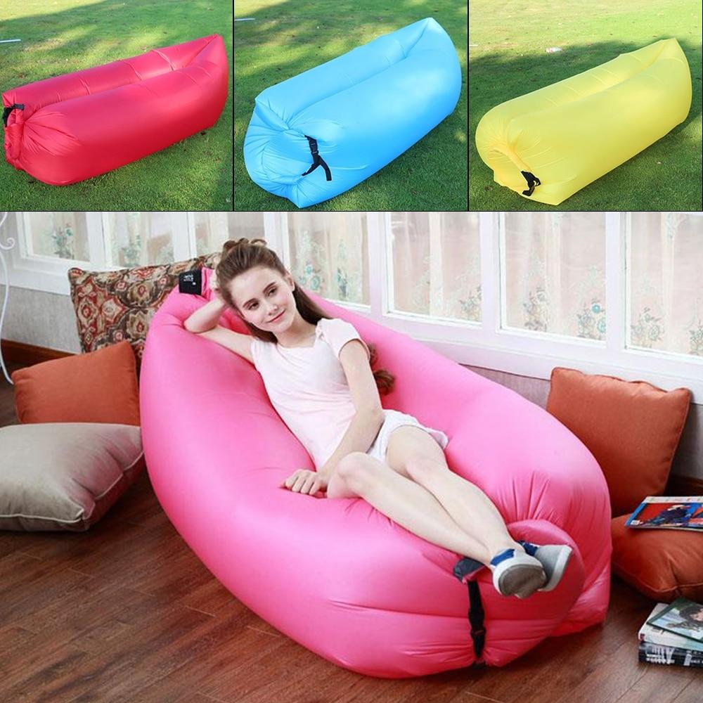Fashion Popular Inflatable Bean Bag Chair Child Adult Lazy Air Bed Outdoor Banana Lazy Cushion Beach
