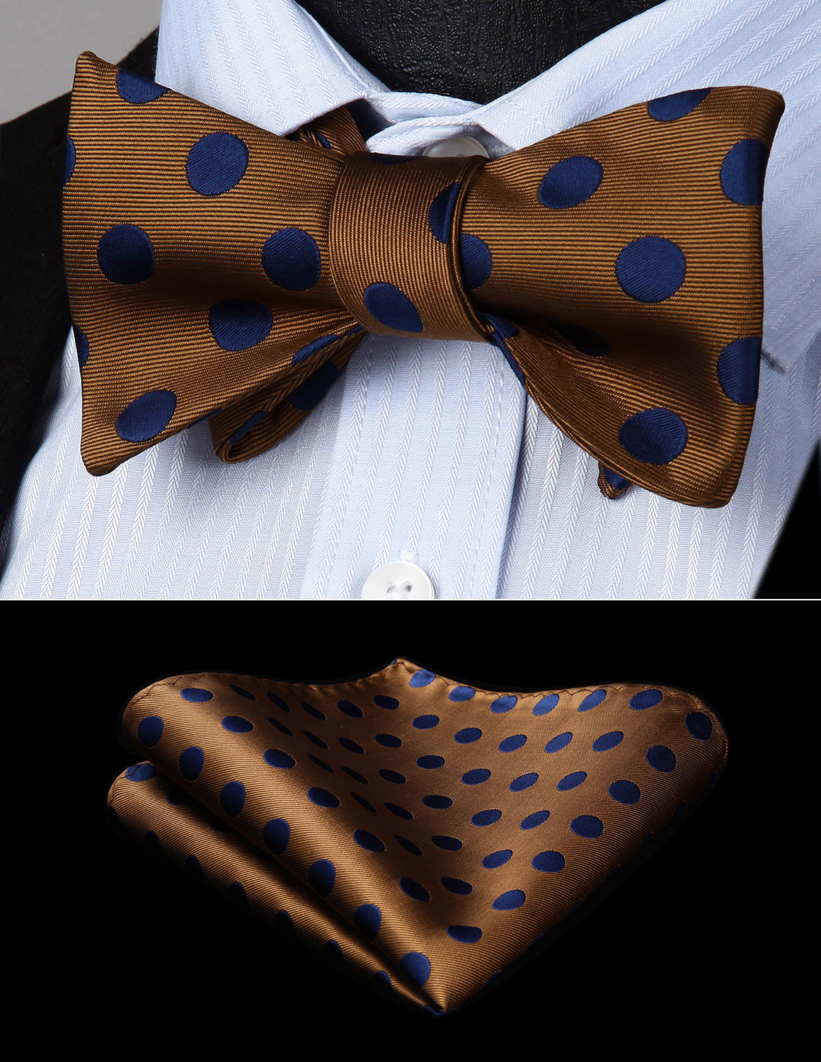 Mens Classic Polka Dot Navy Blue Brown Self Bow Tie Woven Silk Pocket Square Set BD201ZS Party Wedding Bow Tie Handkerchief Set