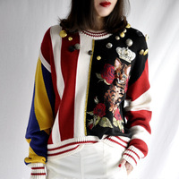 Runway Vintage Winter Sweater Women 2018 Vertical Stripes Cute Cat Flower Pattern Buttons Novelty Knitted Pullover Jumper
