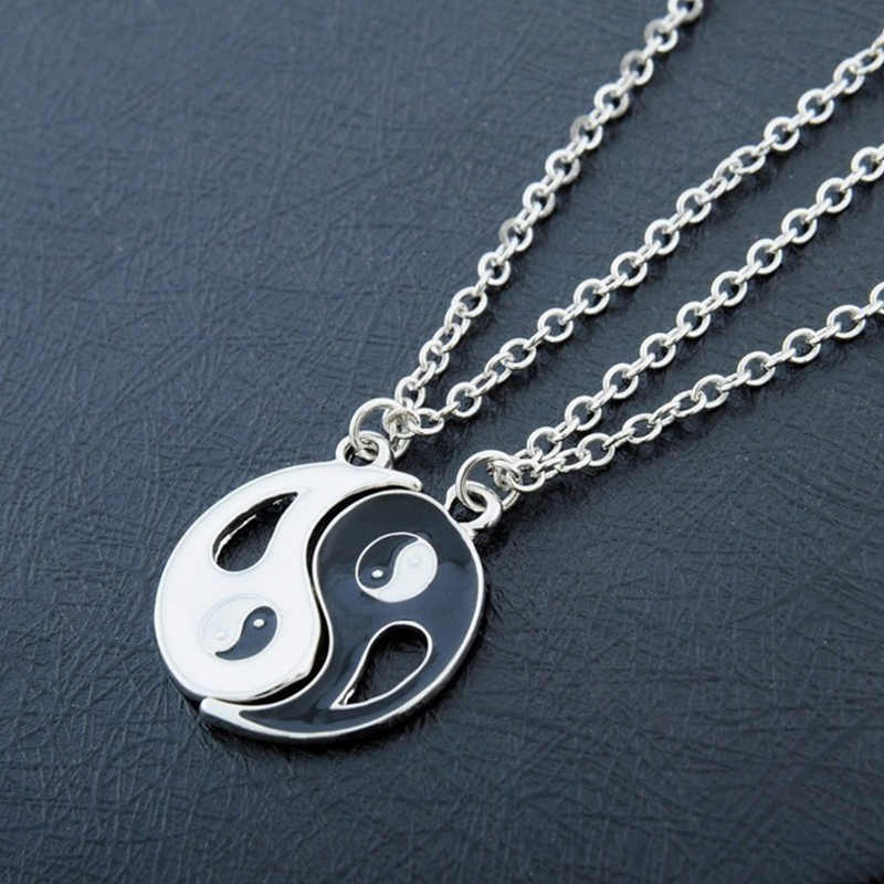 Friendship Forever Yin Yang Gift Trendy Men Best Friend Women Unisex  Jewelry  Bagua Tai Chi  Necklace Pendant black White