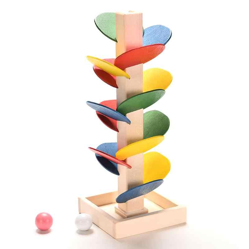 Children DIY  Wooden Colorful Building Blocks Tree Marble Ball Run Track Game Children Educational Learning Toys For Kids