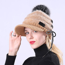 Warm Natural Raccoon Fur Christmas Hats for Women Knitted Braid Beanie Female Caps Pompon Headgear Winter Girl Lady Skullies Hat(China)