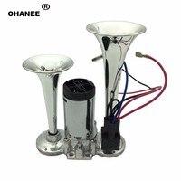 OHANEE 12v Air Horn Compressor Powerful Durable claxon moto klakson for Car Boat Truck Dual Tone Trumpet Ultra Loud Kit