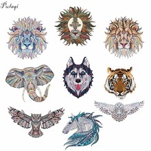 Pulaqi Cute Animal Lion Wolf Iron On Transfer Vinyl Patches Anime Owl Elephant Heat Thermal For Men Kids Clothes DIY F