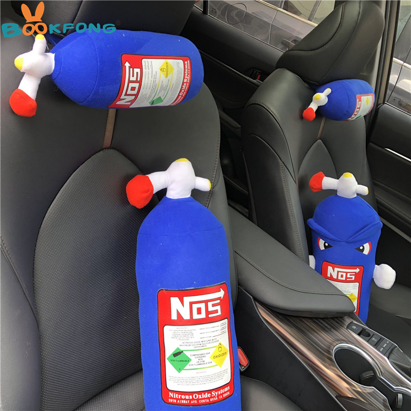 NOS Nitrous Oxide Bottle Pillow Plush Toy Turbo JDM Cushion Gift Decor Headrest Backrest Seat Cover Car Neck Rest Decor