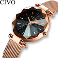Civo luxo relógio de cristal moda feminina malha ouro cinta quartzo relógios marca superior relógio à prova dwaterproof água presente para a esposa relogio feminino