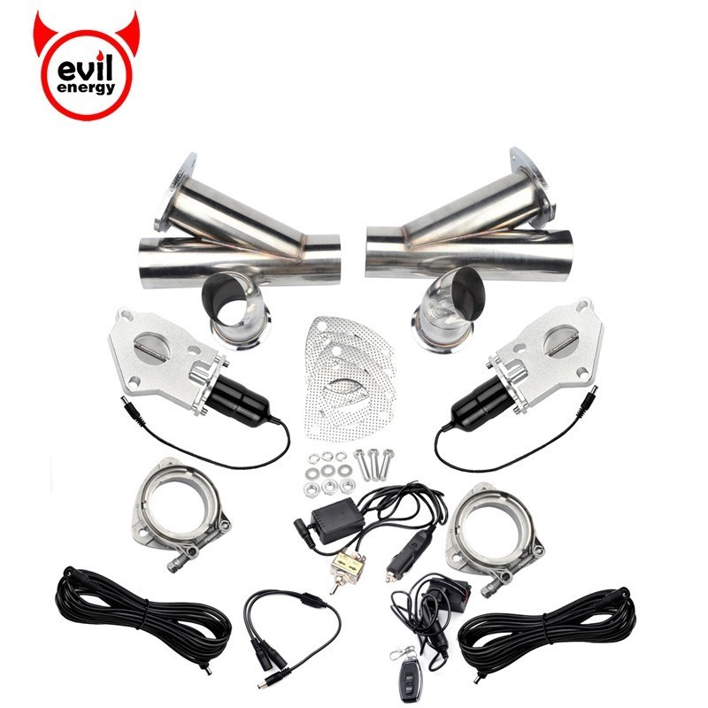 evil energy 3.0'' Electric \ Manual Valve Cut Out Y Pipe Headers Remote Control Catback Exhaust Pipe Cutout Kit Car Part