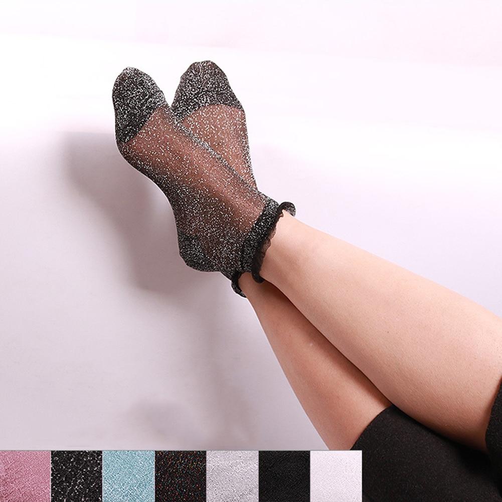 2018 Fashion Women Glitter Ankle Socks Spring Summer Thin Silky Transparent Short Socks Sexy Ladies Shiny Ruffled Socks