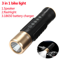 Multifunctional Bluetooth V2.1+EDR Speaker Cree XPE R3 LED Torch 5 Modes 350LM Flashlight 18650 Battery Charger Led Bike Light