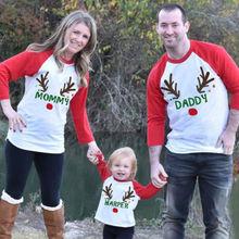 Семейные комплекты для мамы, папы и дочки; зимний джемпер с длинными рукавами; Рождественский топ; рубашка