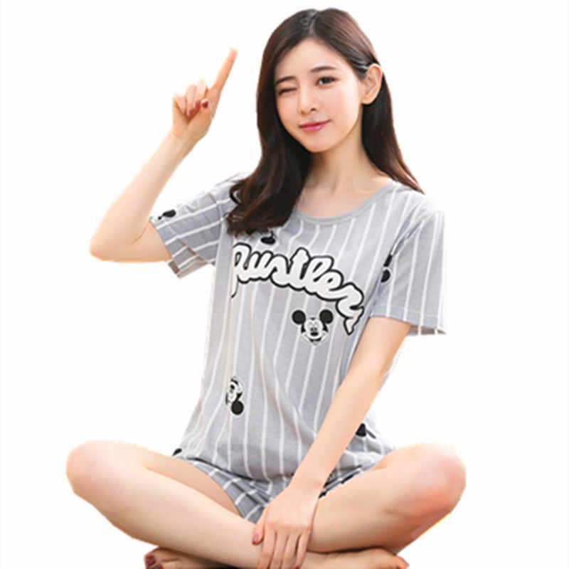 Женский пижамный комплект больших размеров, M-5XL, короткая Пижама, пижама с животными, 100% хлопок, женская одежда для сна с героями мультфильмов, ночная рубашка, Женская Повседневная Пижама