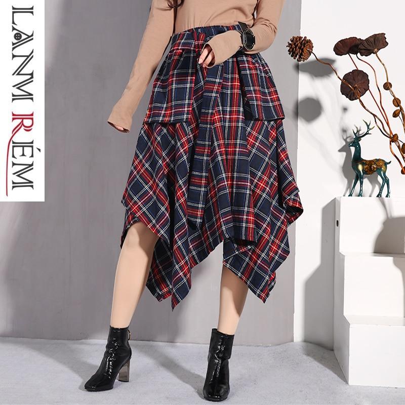 LANMREM Spring And Summer New Irregular Skirts 2019 Korean Women's Fashion Plaid High Waist Fashion Skirt With Belt JD402