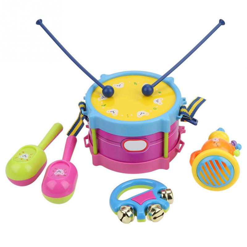 5Pcs Per Bambini Tamburo Tromba Giocattolo di Musica Strumento A Percussione Band Band Kit di Apprendimento Precoce Del Giocattolo Educativo Del Bambino Capretti del Regalo Dei Bambini Set