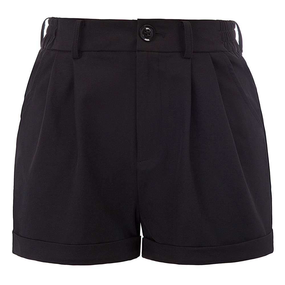 BP Black Women Casual Shorts Elastic Waist Belt Pockets Decorated XL 2XL Pure Color Classic Summer Ladies Clothes Walking Shorts