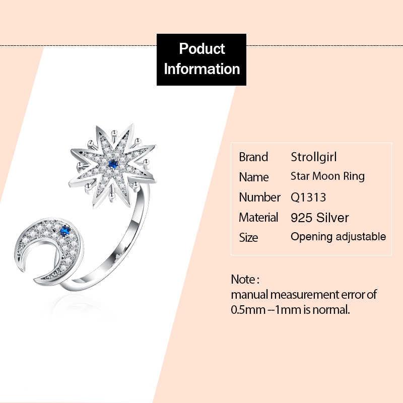 Strollgirl 100% стерлингового серебра 925 Обручальное кольцо сверкающая Луна и звезда палец кольца для женщин 2019 Модные Ювелирные изделия Подарки