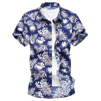 New Model Shirts Male Flower Blouse Men Floral Camisa masculina Fashion Black Blue Casual Hawaiian Mens Shirts Slim fit new model shirts stand collar white black camisa social mens shirt unique golden design blouse mens clothing slim fit
