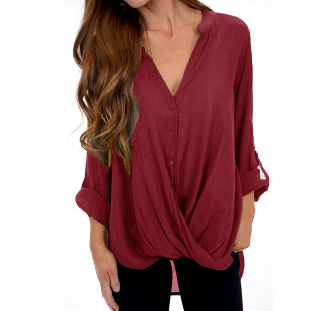 2019 autumn V-neck long-sleeved tops female casual loose irregular pleated shirt large size s-4xl 5xl