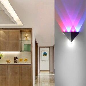 Image 5 - مصباح جداري ليد 5 وات هيكل من الألومنيوم مصباح جداري مثلثي لغرفة النوم إضاءة منزلية مصباح إضاءة للحمام حامل جداري
