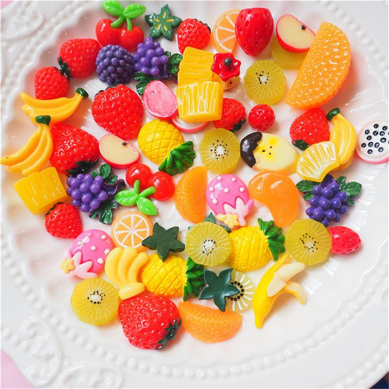 Model Building 30 Pieces Slime Charms Mixed Fruit Series Beads Slime Bead Making Supplies For Diy Collage Crafts Fruit Beads Mucus Beads Diy