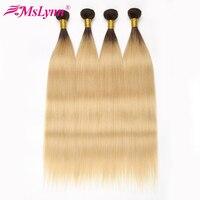 Ombre Hair Bundles 1B 613 Blonde Bundles Straight Hair Bundles Brazilian Hair Weave Bundles Mslynn Human Hair Extensions NonRemy