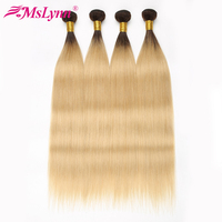 Ombre Hair Bundles 1B 613 Blonde Bundles Straight Hair Bundles Brazilian Hair Weave Bundles Mslynn Human Hair Extensions NonRemy