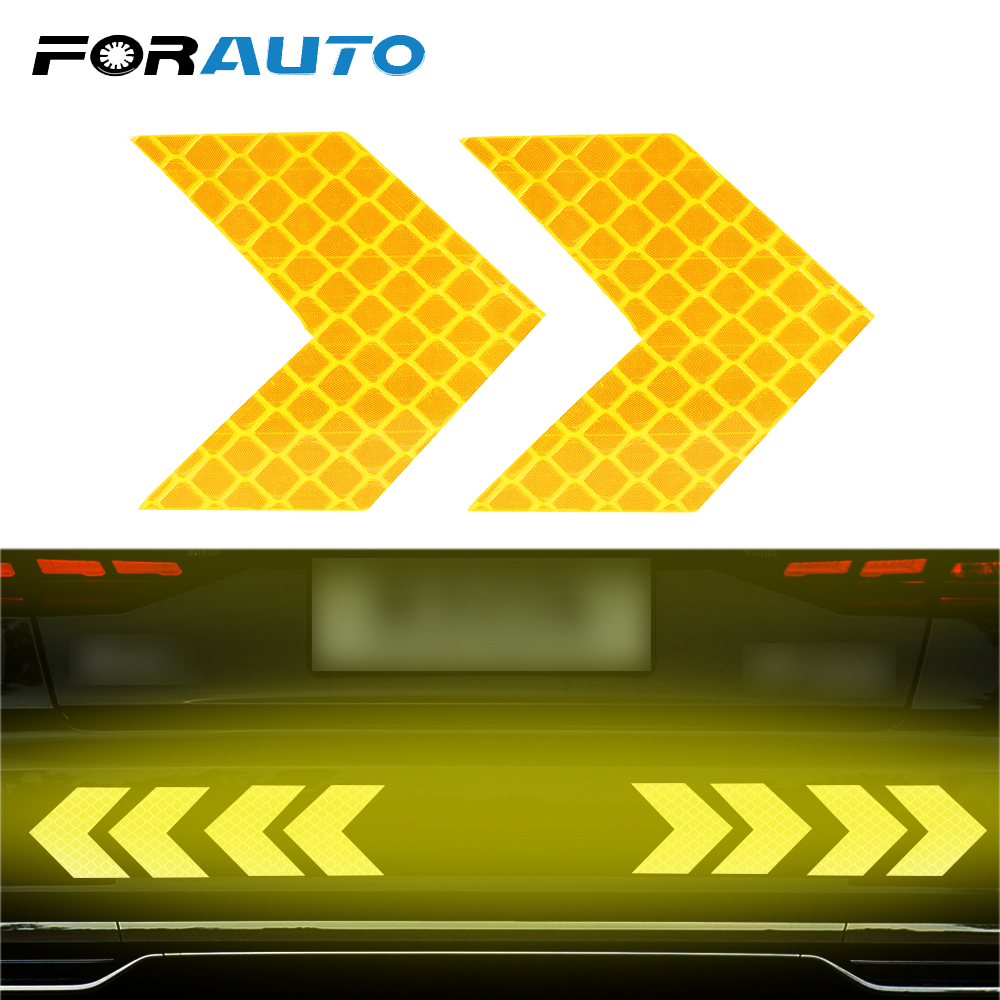 FORAUTO 2 Piece/set Car Reflective Sticker Warning Decals Arrows Pattern Motorcycle Auto Tail Bar Bumper Sticker Safety Mark