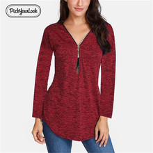 PickyourLook Deep V Neck Front Zip Casual Tee Shirts Women Plus Size 5XL Long Sleeves T Shirts OL Daily Wear Tops Tees Slim Fit zip up front crop tee