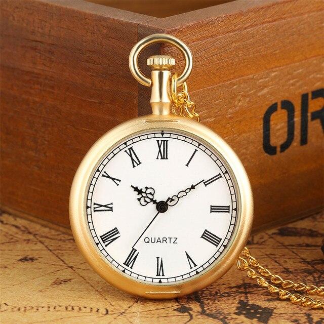 Exquisite Open Face Quartz Pocket Watch Roman Numbers Analog Display Pendant Clo