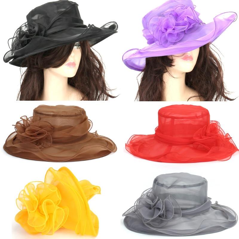 ebe290703fda2b Fasion Women Wedding Formal Church Organza Wide Brim Hat Fedoras Party  Wedding Cap Beach Sun Hat
