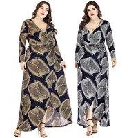 Ladies Summer New 2019 Long Sleeve Printing Party Maxi Dress Plus Size 6l Women Dresses Natural XL XXL XXXL 4XL 5XL 6XL