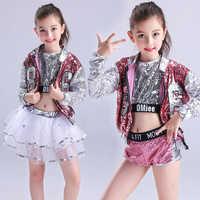 Mädchen Pailletten Ballroom Jazz Hip Hop Tanzen Kostüme Kid Erwachsene Leistung Moderne Partei Zeigen Hosen Tanzen Tragen set Outfits