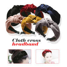 Chic knot headscarf Korean wide side fabric cross simple lovely age reducing jewelry