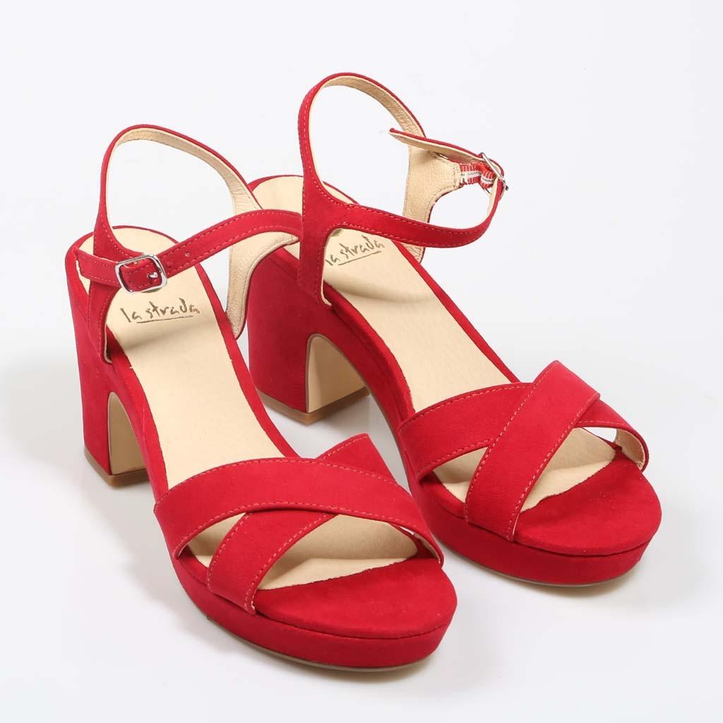 La Medio Sandalias Rojo Tacón Flops Zapatos De Mujer Sandalia Moda Ygby6fI7v