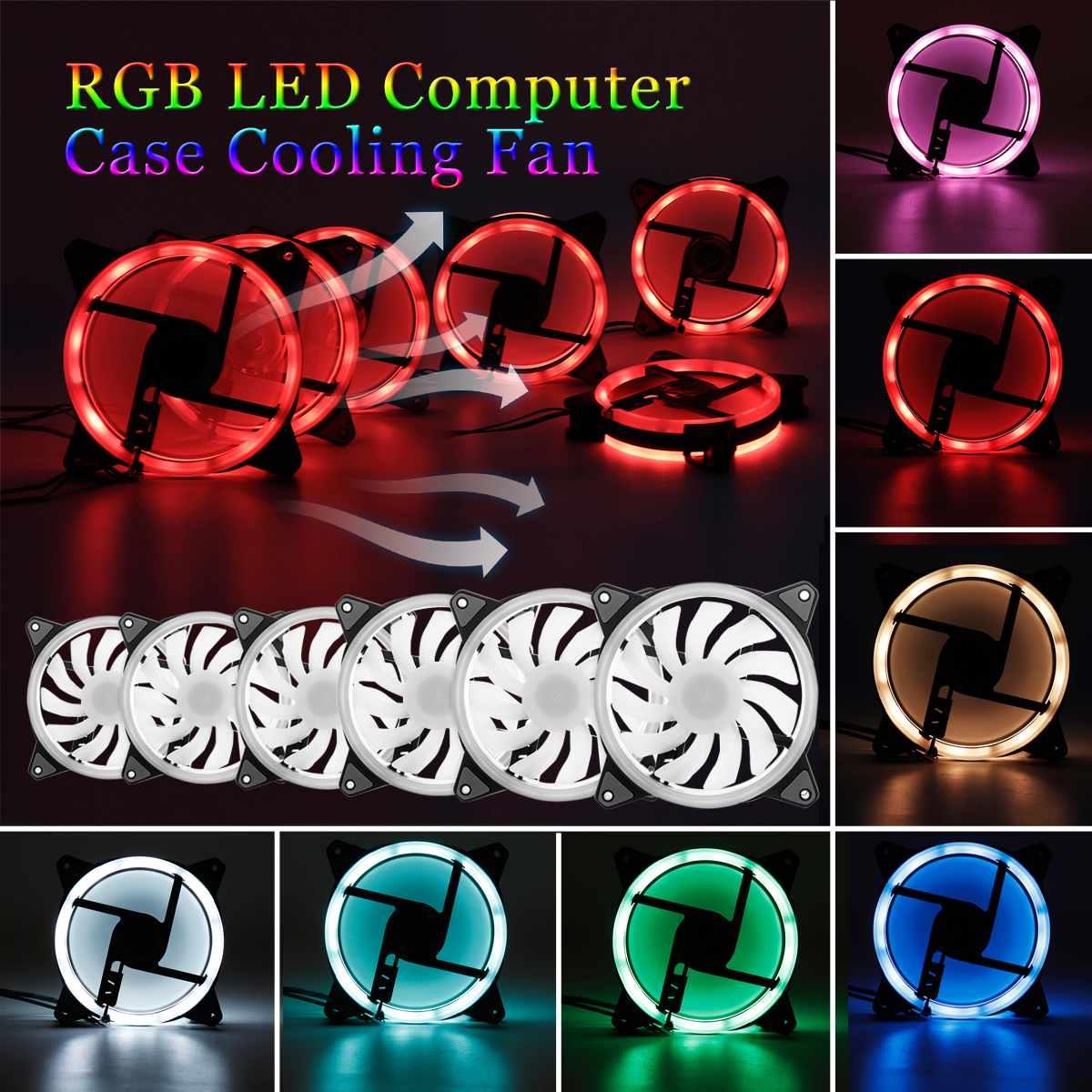 1 pièces/3 pièces/6 pièces 120mm PC ordinateur 16dB silencieux ventilateur de refroidissement ajuster RGB LED coque d'ordinateur IR à distance 12VDC en ABS pour CPU