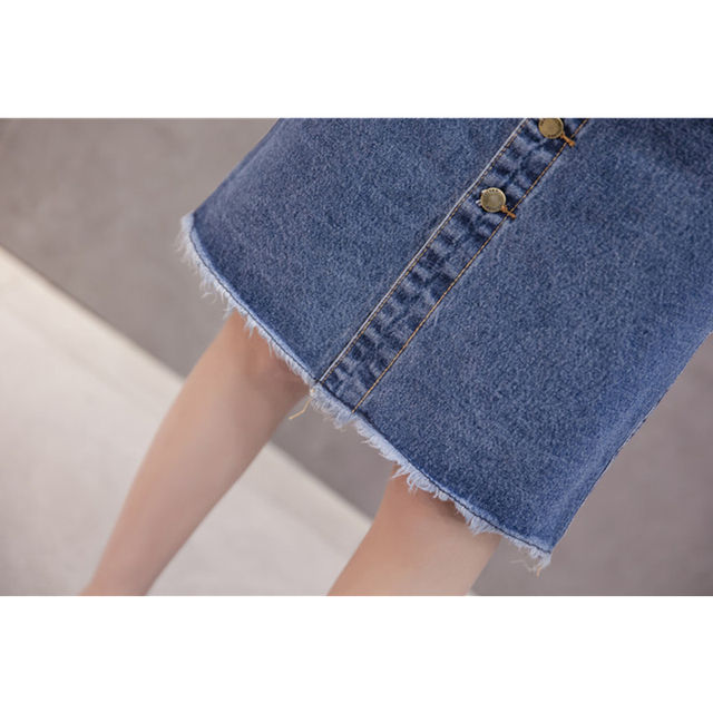 Flectit 2019 Button Front Midi Denim Skirt for Women Casual High Waist Fray Hem with Pocket Knee Length Jeans Skirt Female * 5