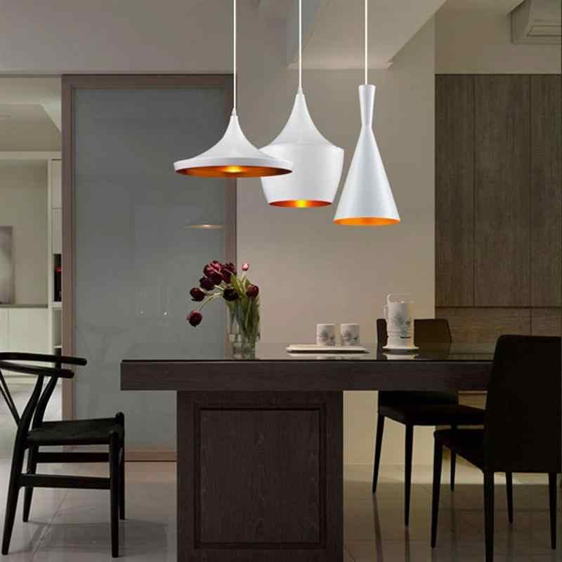 אלומיניום לופט בציר תעשייתי תליון אור שחור/לבן אהילי מנורת קפה בר מטבח תלייה מקורה תאורה