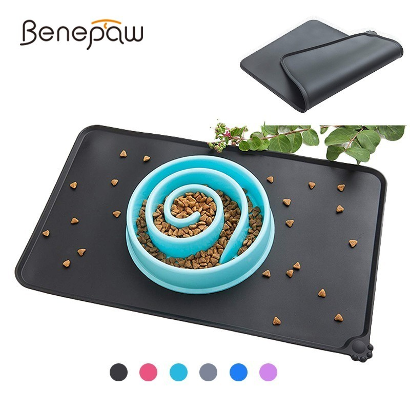 Benepaw Waterproof Silicone Dog Food Mat Food Grade Antislip Small Medium Large Dog Placement Bowl Mat Pet Feeding Tray Cats