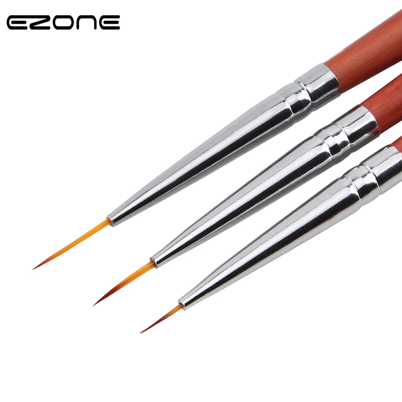 EZONE 3PCS Paint Brush Fine Hook Line Pen Different Size Nail Art Line Drawing Pen Oil Watercolor Painting School Office Supply