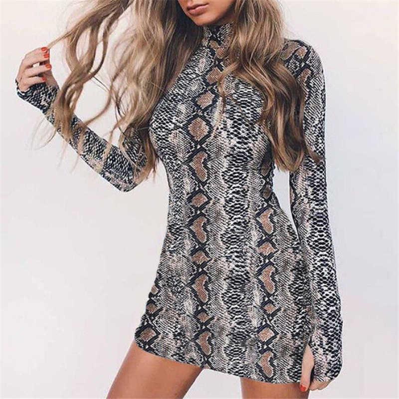 Women Party Dress Winter Snakeskin Print Dress Women Long Sleeve Mini  Dresses Turtleneck Ladies Dresses Evening 6e1e15e435ac
