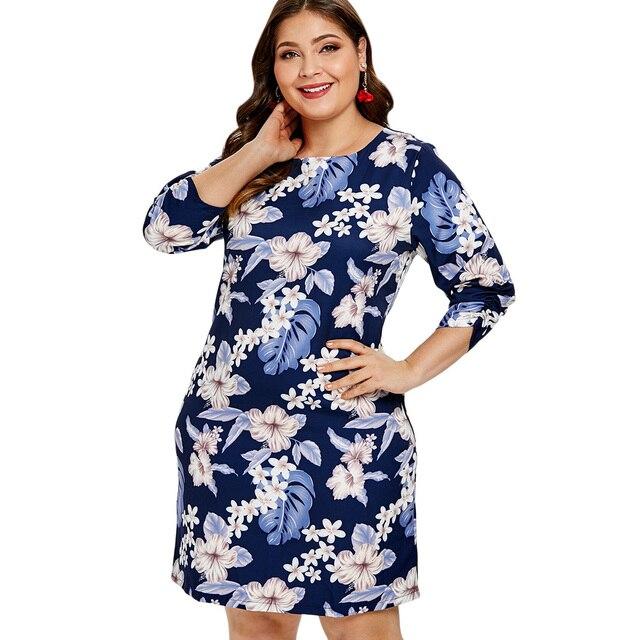 Kenancy Plus Size Floral Print Women Dress Round Neck 3 4 Sleeves Spring  Office Dress Vestidos De Festa 6xl Women Straight Dress 58c7cbbc660e