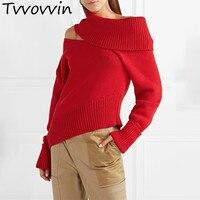 Off Shoulder Sweater Women Irregular Collar Long Sleeve Knitting Pullover Tops Female Korean Fashion 2019 Spring E291
