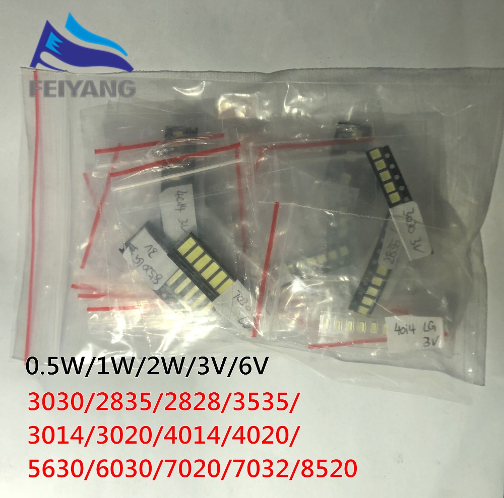 1000pcs/lot 1W-2W <font><b>SMD</b></font> <font><b>LED</b></font> Kit 3V/6V <font><b>2835</b></font>/3030/2828/3535/5630/7020/7030/4020/4014/7032 Cold white For TV Backlight Beads 10*100LG image