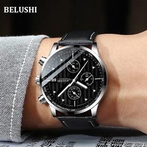 Image 5 - Luksusowy męski zegarek kwarcowy sportowy zegarek na co dzień mężczyźni wojskowy zegarki zegar człowiek skórzany zegarek na rękę data wodoodporny 30M Relogio