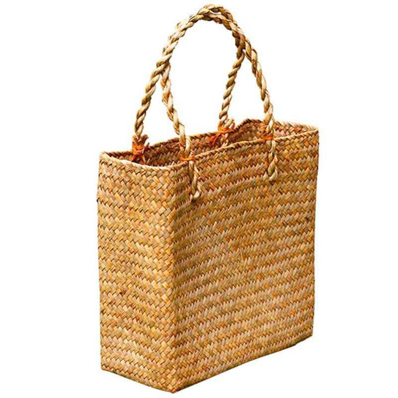 Модные соломенные летние Для женщин пляжные сумки Женский манжет Сумки Дизайнер Леди Ретро ротанга сумка-тоут ручной работы