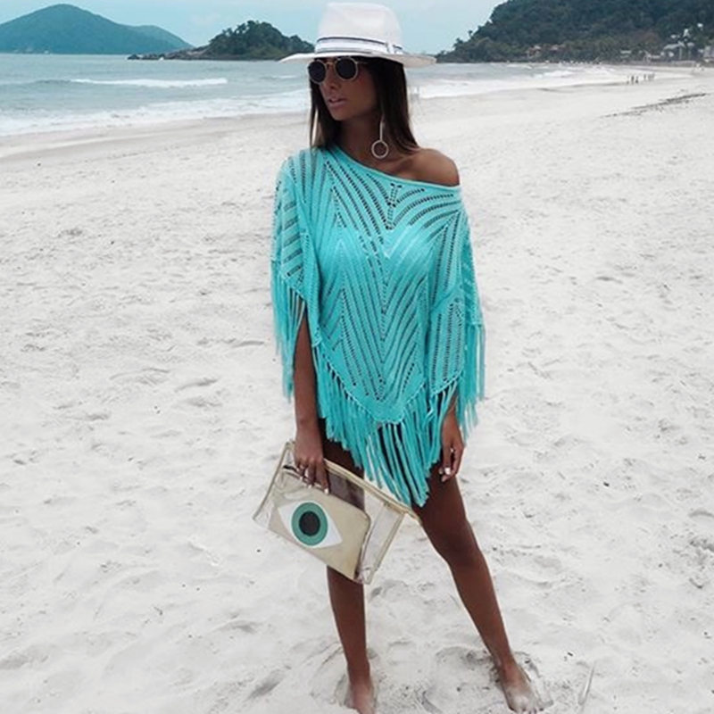 NODELAY Women Knitting Bikini Cover Up Beachwear Pareo 2018 Plus Size Tassel Cover Up Beach Wear Female Loose Beach Dress Tunic