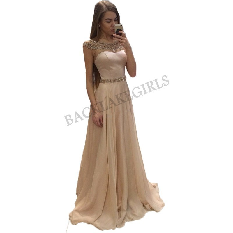 New Fashion Beaded Sash Chiffon   Prom     Dress   Long 2019 Cheap   Prom   Gown Elegant Evening Women   Dresses