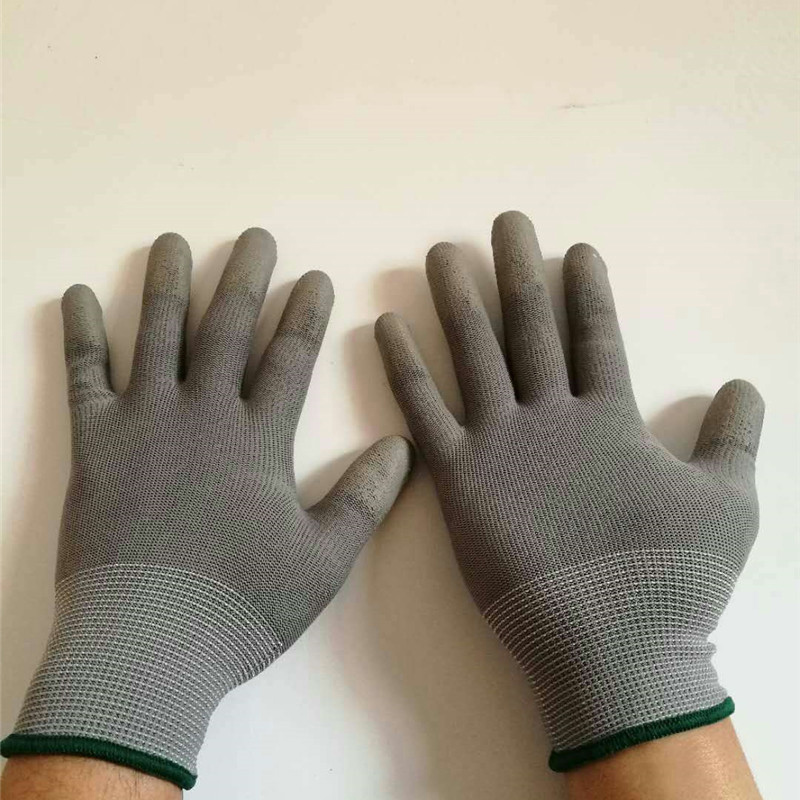Gray PU Mittens Gloves Fingertip Nylon Dipped Protective Gloves Breathable Non-slip Safety Universal Glove Working Glove