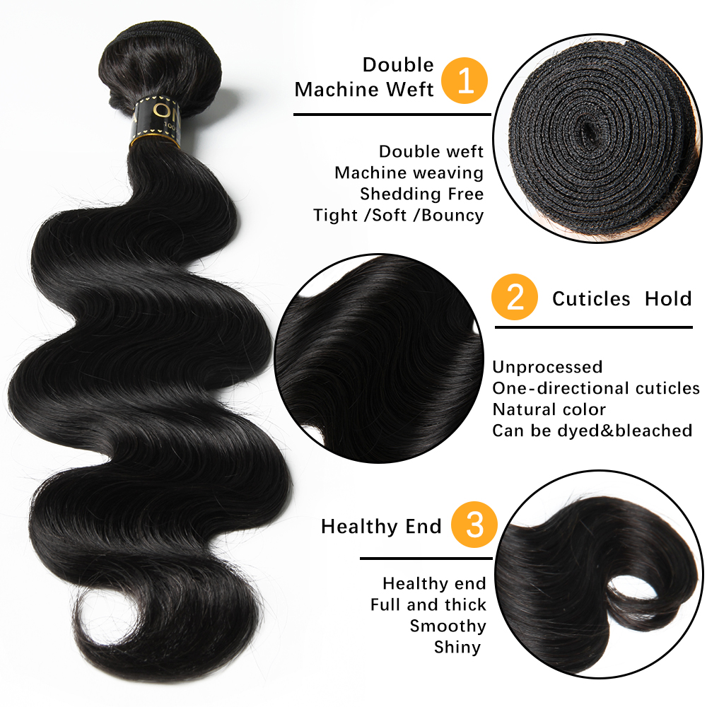 Onicca Hair 3 Bundles Body Wave With Lace Frontal Brazilian Human Hair Weave Bundles With 13x4 Lace Frontal Closure Remy Hair