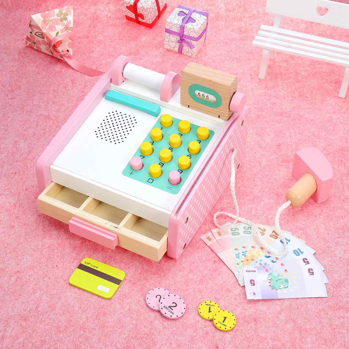 Pink Wooden Children Educational Toys Simulation Cash